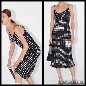 Zara polka dot slip dress with draped neck size XS